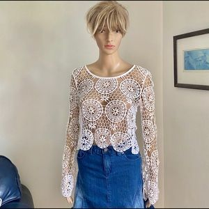 Kendall & Kylie Cotton Crochet Small Long Sleeves